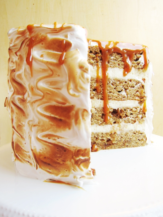 Toasted Marshmallow Caramel Banana Cake with Cheesecake Frosting 2