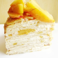 Peaches and Cream Crêpe Cake