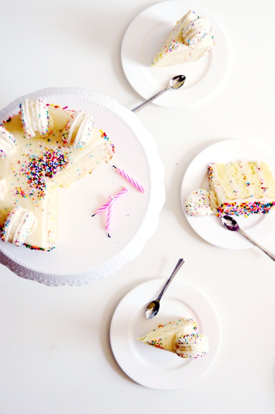Funfetti Cake Batter Cake and Macarons 4