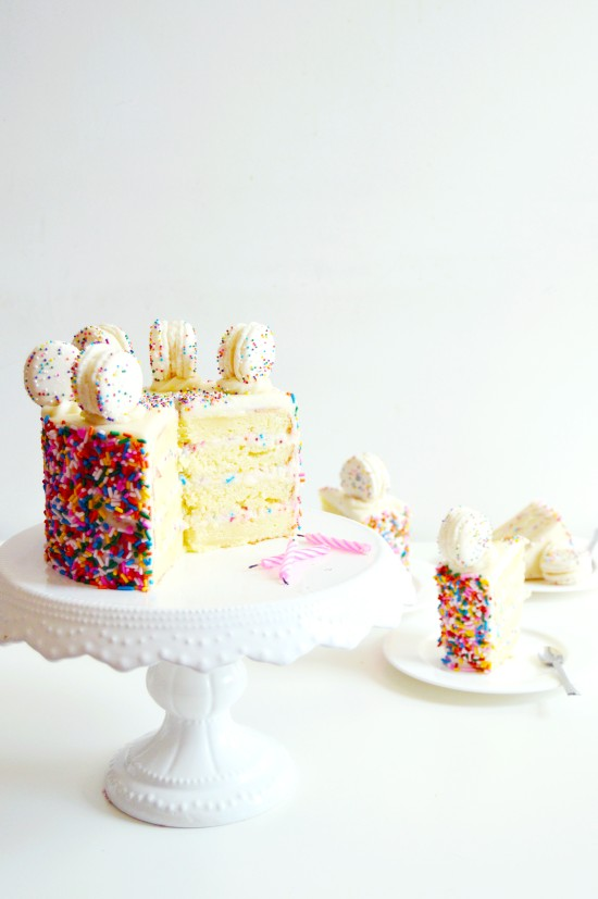 Funfetti Cake Batter Cake and Macarons 5