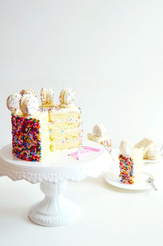 Funfetti Cake Batter Cake and Macarons 5