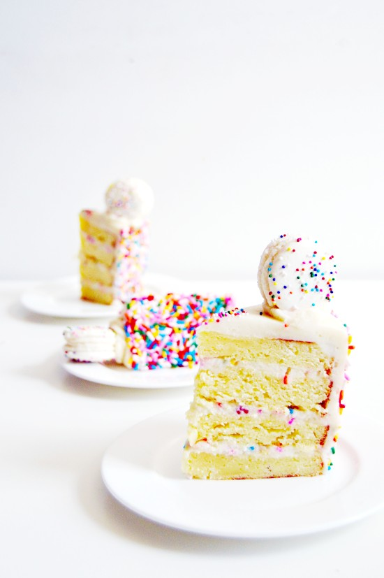 Funfetti Cake Batter Cake and Macarons 6