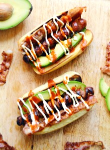 bacon avocado hotdogs