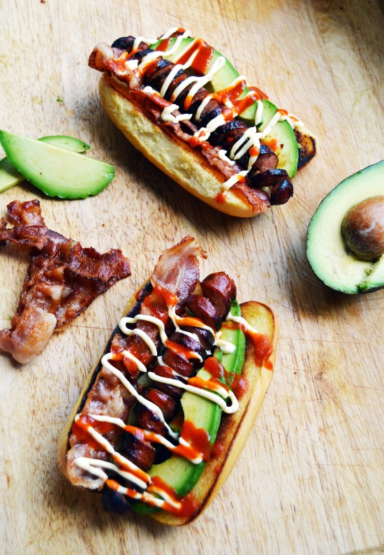 bacon avocado hot dogs