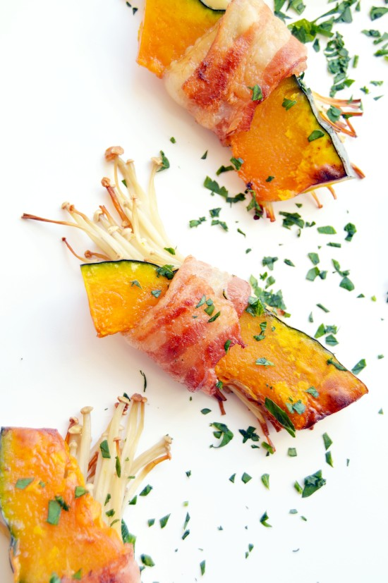 Bacon Wrapped Enoki Mushrooms and Kabocha Squash 2