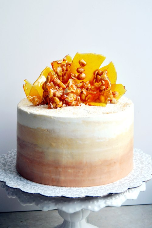 Peanut Brittle Coffee Fudge Cake