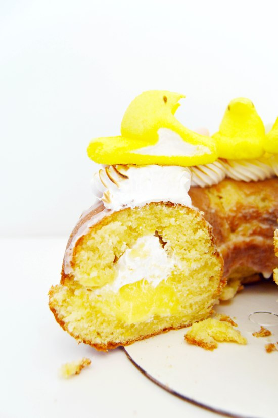 Meyer Lemon Marshmallow Doughnut Cake