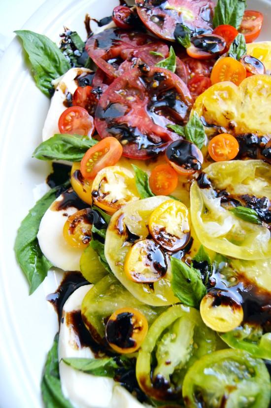 Rainbow Caprese Salad with Spicy Balsamic Glaze