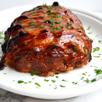 Bacon Wrapped Meatloaf with Brown Sugar Ketchup Glaze