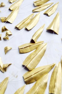 gold gum paste leaves