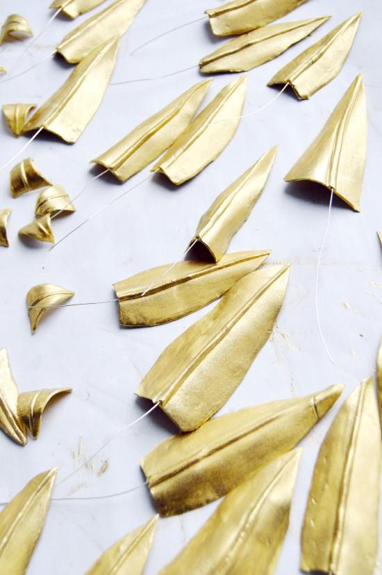 gold gum paste leaves