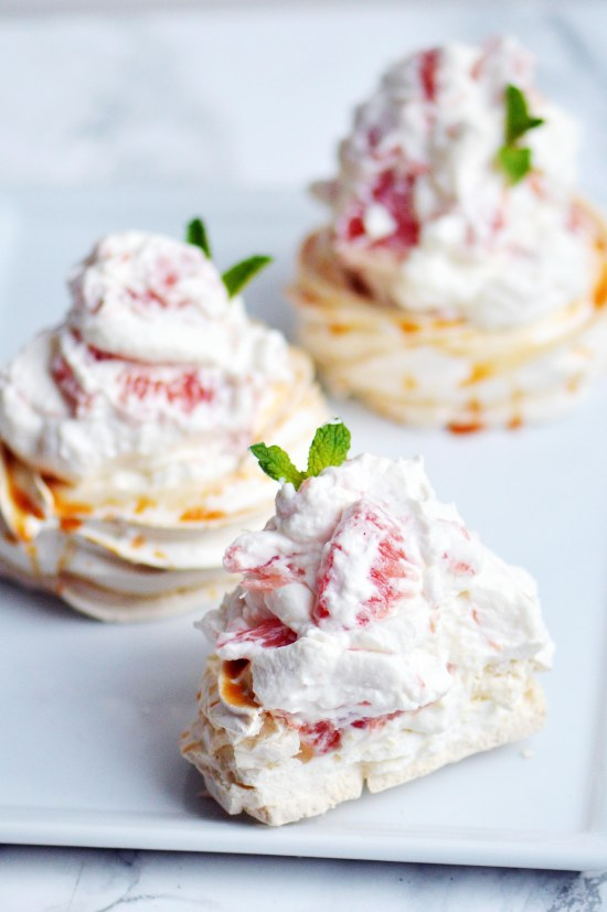 Grapefruit Pavlova with Grapefruit Mousse