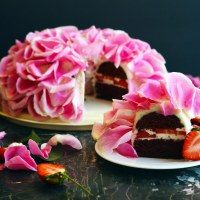 Red Velvet Strawberry Rose Cake